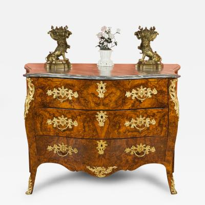 Louis XV Dutch Gilt Bronze Mounted Burl Wood Commode
