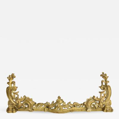 Louis XV Style Bronze Chenets and Fender