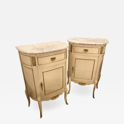 Louis XV Style Demilune Painted Bronze Mounted End Tables or Nightstands Pair
