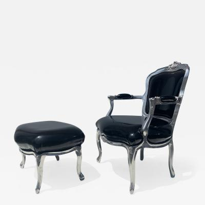 Louis XV Style Fauteuil and Foodrest in Solid Aluminum
