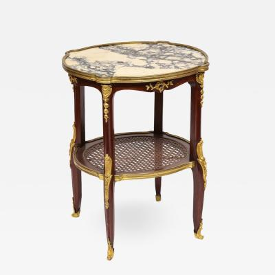 Louis XV Style French Ormolu Mounted Mahogany Table with Marble Top circa 1880