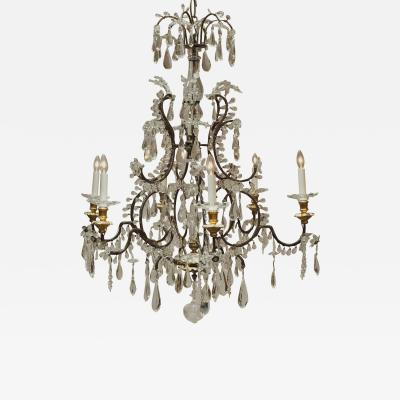 Louis XV Style Iron and Crystal 6 Light Chandelier Italy Circa 1860