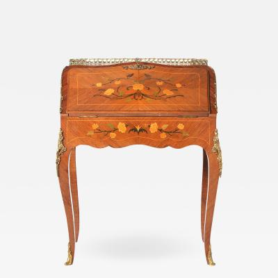 Louis XV Style Ladies Writing Desk Marquetry Details