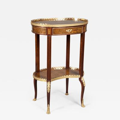 Louis XV Style Ormolu Mounted Inlaid Tulipwood and Mahogany Galleried Oval Table