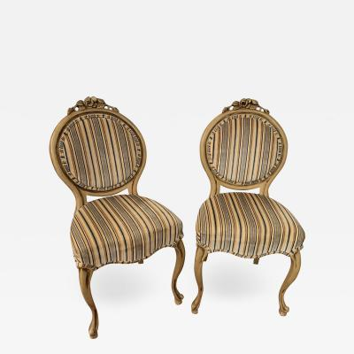 Louis XV Style Oval Back Side Chair a Pair
