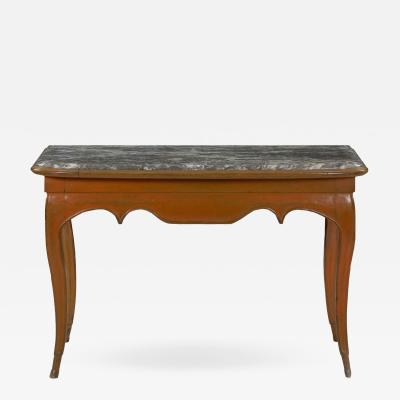 Louis XV Style Painted Marble Top Accent Console Table 19th Century