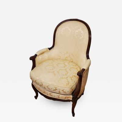 Louis XV Style Walnut Upholstered Bergere Armchair