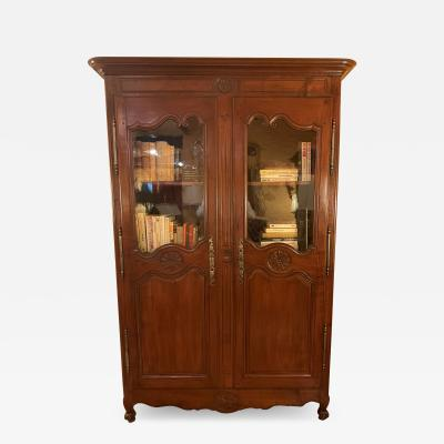 Louis XV Wardrobe With Glassed Door 18 Century In Wild Cherry Wood