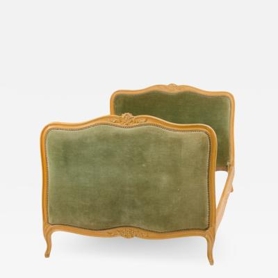 Louis XV style day bed with green velvet upholstered headboard and footboard