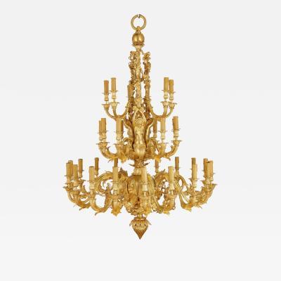 Louis XV style gilt bronze 33 light chandelier
