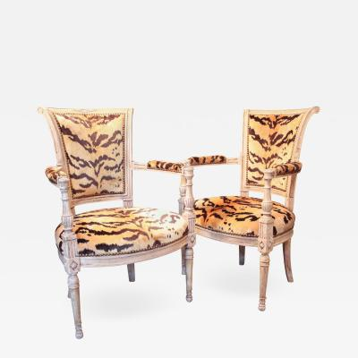 Louis XVI Painted Armchairs with Tiger Silk Velvet Upholstery Pair