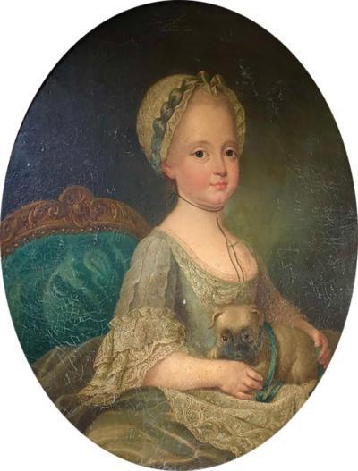 Louis XVI Period Portrait Girl with Pug