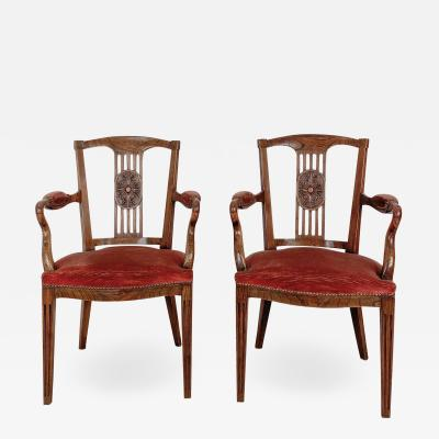 Louis XVI Style Armchairs Late 18th Century Belgium A Pair
