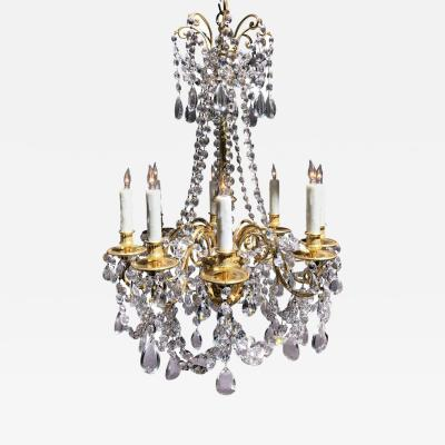 Louis XVI Style Dor Bronze and Crystal Eight Arm Chandelier