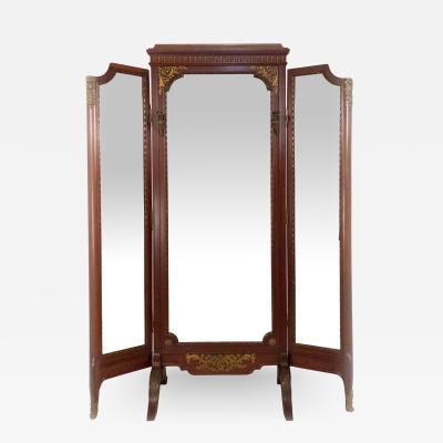 Louis XVI Style Gilt Bronze Mahogany Dressing Mirror
