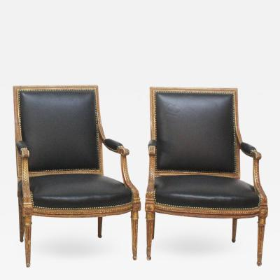 Louis XVI Style Giltwood Fauteuils Armchairs
