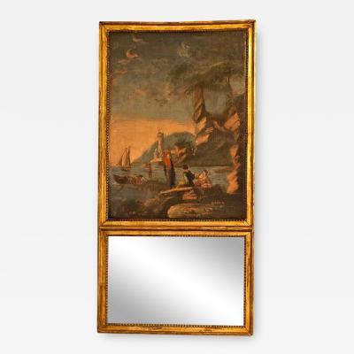 Louis XVI Style Giltwood Trumeau Mirror