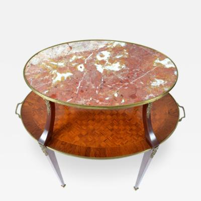 Louis XVI Style Inlaid Two Tier Ormolu Mounted Dessert Table