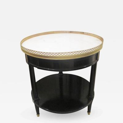 Louis XVI Style Marble Top Bouillotte Table with Brass Gallery