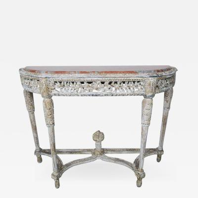 Louis XVI Style Painted Console with Marble Top