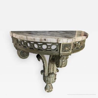 Louis XVI style carved wood and white painted console
