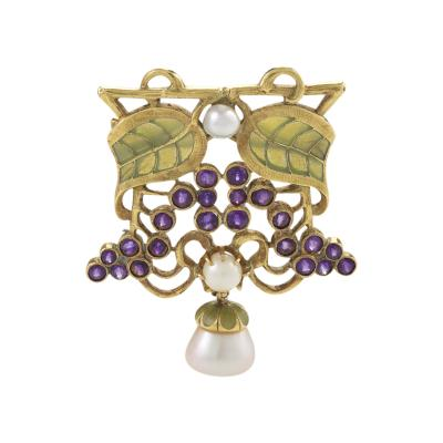 Louis Zorra Art Nouveau Diamond Amethyst Pearl and Plique Jour Enamel Brooch