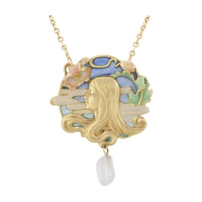 Louis Zorra French Art Nouveau Plique Jour Enamel Gold and Freshwater Pearl Pendant