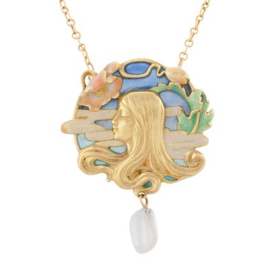 Louis Zorra French Art Nouveau Plique jour Enamel Gold and Freshwater Pearl Pendant