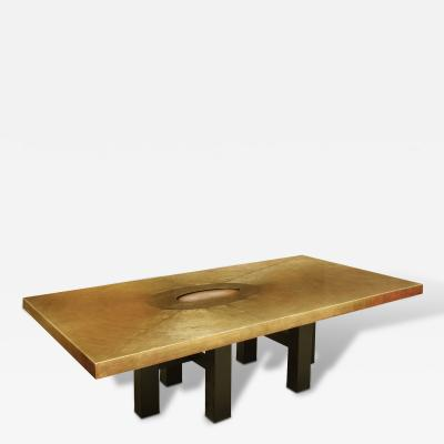 Lova Creation Bronze Coffee Table with Inset Agate 1970s