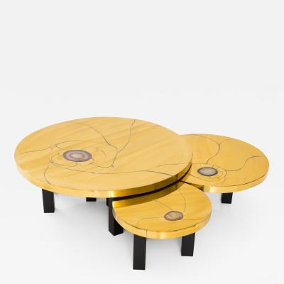 Lova Creations A Rare Set of Agate Inset Brass Low Tables by Lova Creation