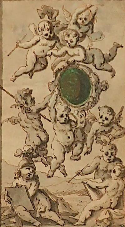 Lovely 18th Century Flemish School Ink Drawing Of An Allegory Of Painting