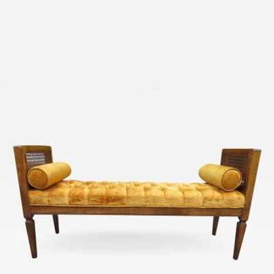 Lovely Caned Walnut Tufted Bench Mid Century Modern