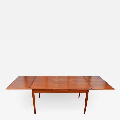 Lovely Compact Danish Teak Draw Leaf Dining Table w Conical Legs