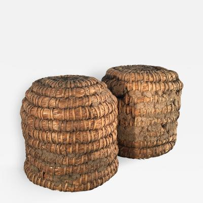 Lovely Pair of Woven Straw German Bee Skeps