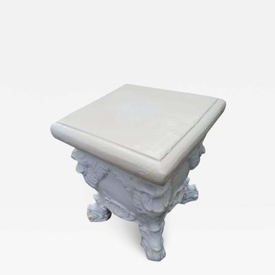 Lovely White Glazed Terra Cotta Roccoco Style Plant Side Table
