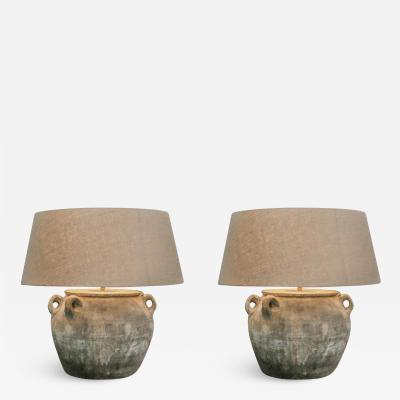 Lovely lamp pair of lamps earthenware country mid modern campaign