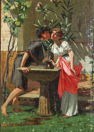 Lovers by a Fountain Painting Oil on Canvas