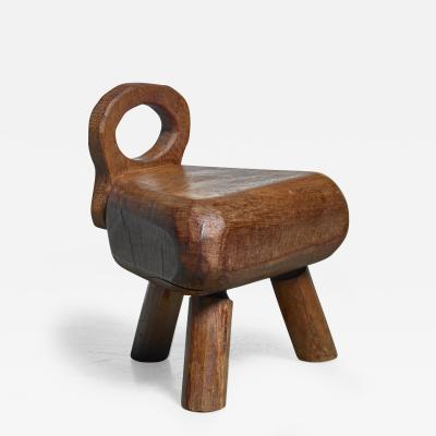 Low campagne style wood stool France