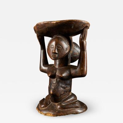 Luba People DRC Female Caryatide Stool with patina