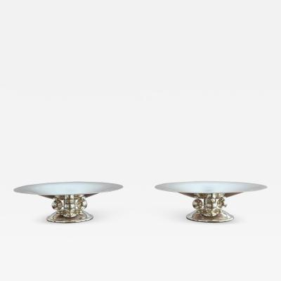 Luc Lanel 2 Fine French Art Deco Centerpieces by Luc Lanel for Christofle
