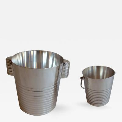 Luc Lanel Silver Plated Champagne and Ice Buckets by Luc Lanel for Christofle