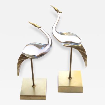 Luca Bojola A Shimmering Pair of Italian Glass Cranes by Luca Bojola