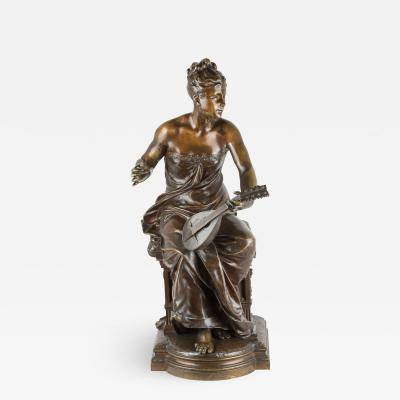 Luca Mandrassi A Patinated Bronze of a Young Lady Playing a Mandolin Retailed by Tiffany Co