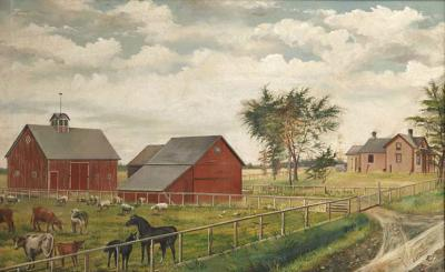 Lucadie Monty Farmscape Oil Painting