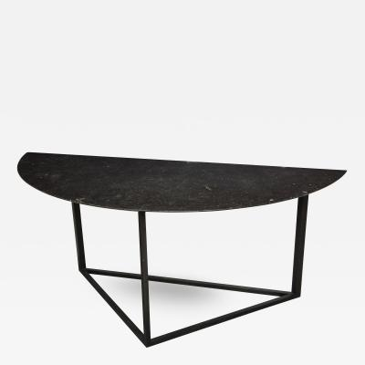 Lucca Co Made to Order Demilune Table with Iron Base and Bluestone Top