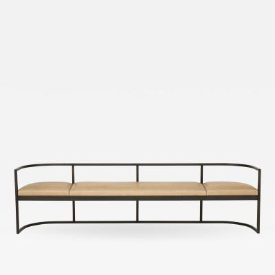 Lucca and Co Made to Order Bench with Solid Blackened Steel Frame