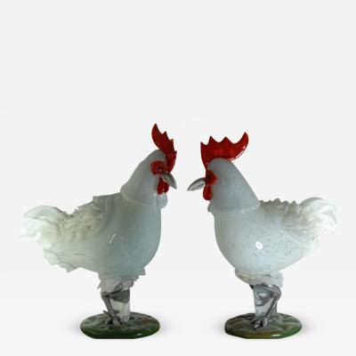 Luciano Ferro Luciano Ferro for Avem 1958 62 Two Large White Roosters