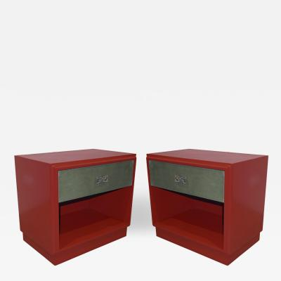 Luciano Frigerio 1970s Italian Green Leather Burgundy Side Tables with Mirror and Bronze Accents