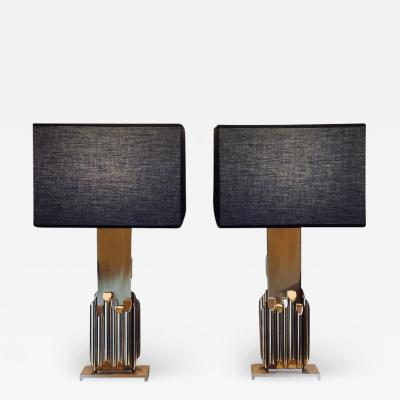 Luciano Frigerio 1970s Pair of Fascination Brass Sculpture Table Lamps by Luciano Frigerio