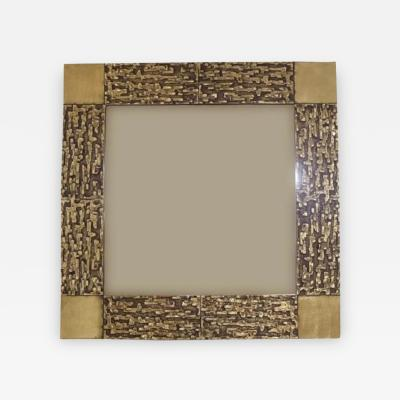 Luciano Frigerio A Square Wall Mirror in Cast Bronze model Juanita by Luciano Frigerio